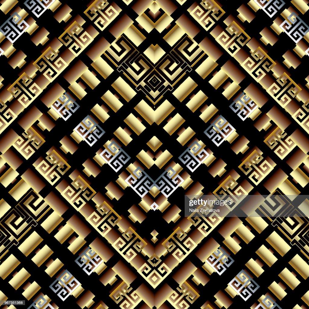 geometric greek key meanders 3d seamless pattern
