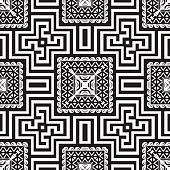 Geometric greek vector seamless  pattern. Ornamental black and white tribal background. Geometry repeat checkered backdrop. Greek key meanders ornament with geometrical shapes, zigzag, squares, waves