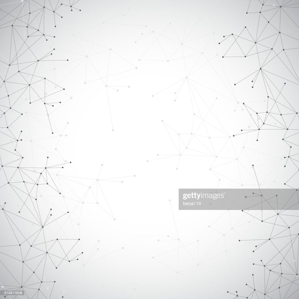 Geometric grey background molecule and communication . Connected lines with dots