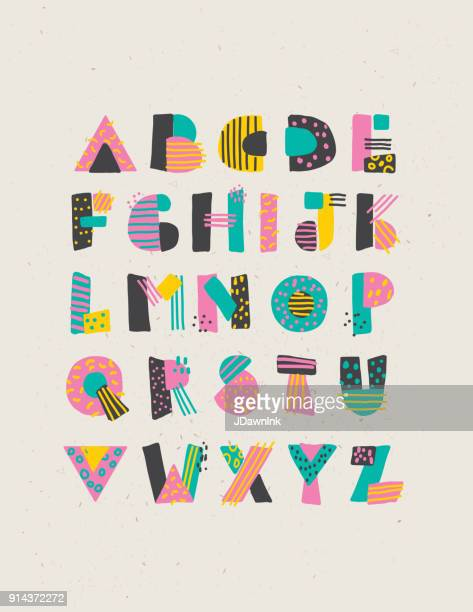 geometric hand drawn alphabet capital letters set - alphabet stock illustrations