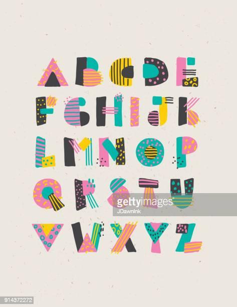 geometric hand drawn alphabet capital letters set - letter stock illustrations