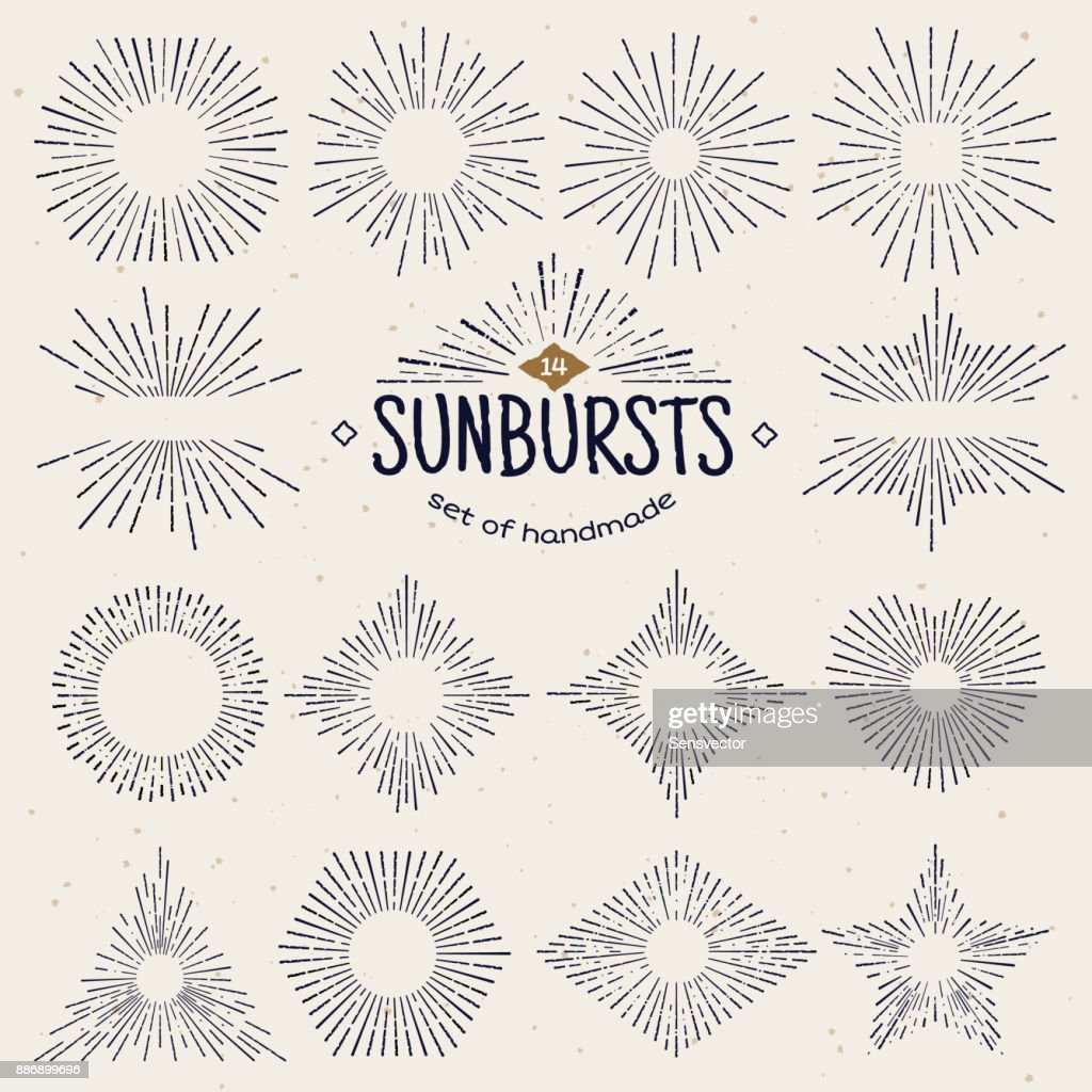 Geometric hand drawn sunburst, sun beams in different forms. Star shining with rays in form of lines, linear sunlight waves. Summer and sunset, sunrise and radial fireworks symbol. Vintage style