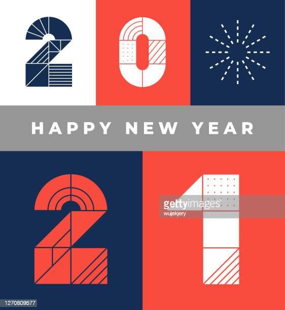 geometrische glücklich neues jahr 2021 grußkarte mit feuerwerk - 2021 stock-grafiken, -clipart, -cartoons und -symbole