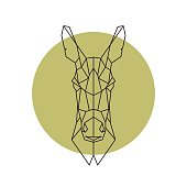 Geometric head of donkey. Vector illustration.
