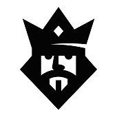 Geometric king head logotype. Vector sign.