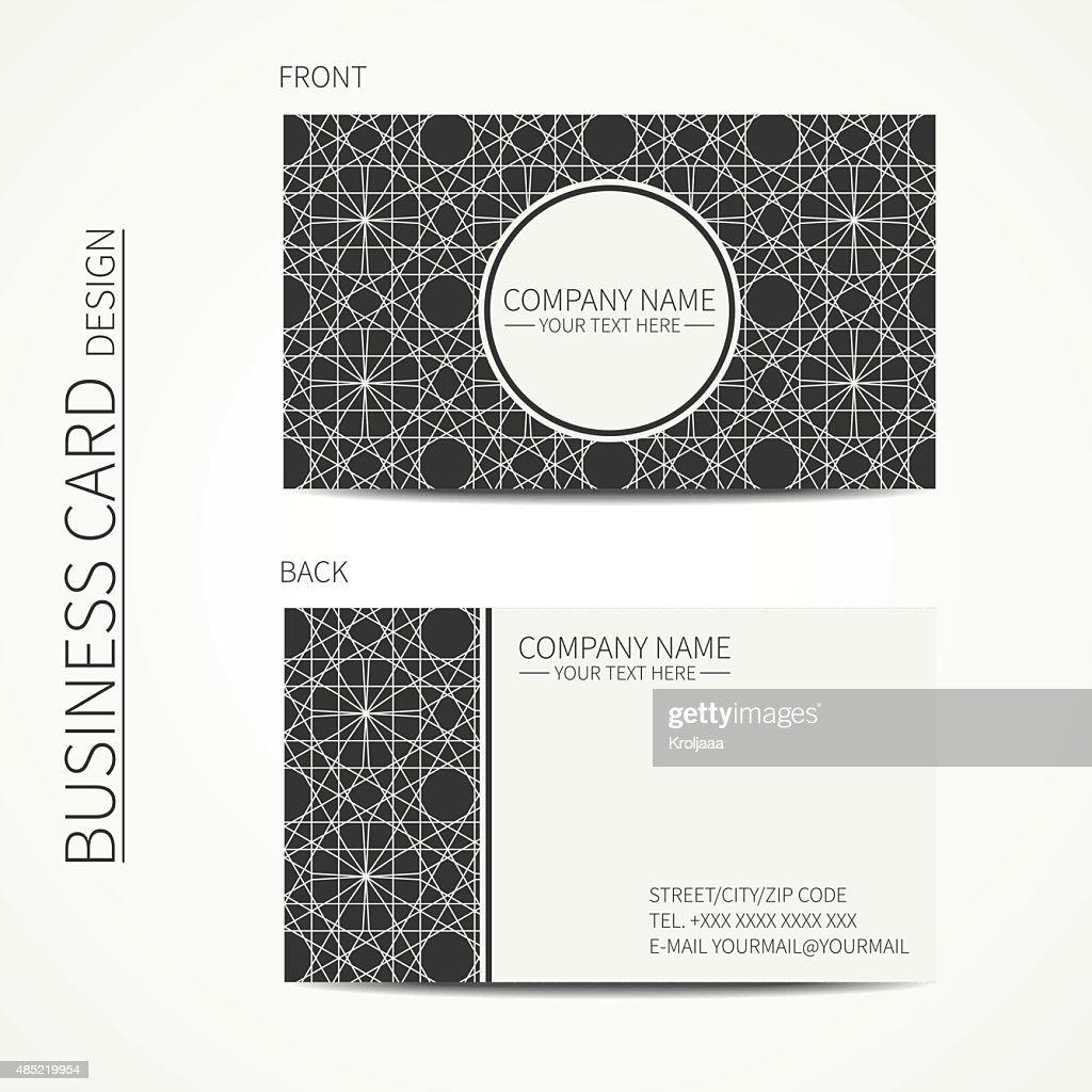 Geometric lattice monochrome business card template for your design.