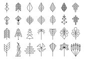 geometric leaves and trees, hipster elements for design and logo