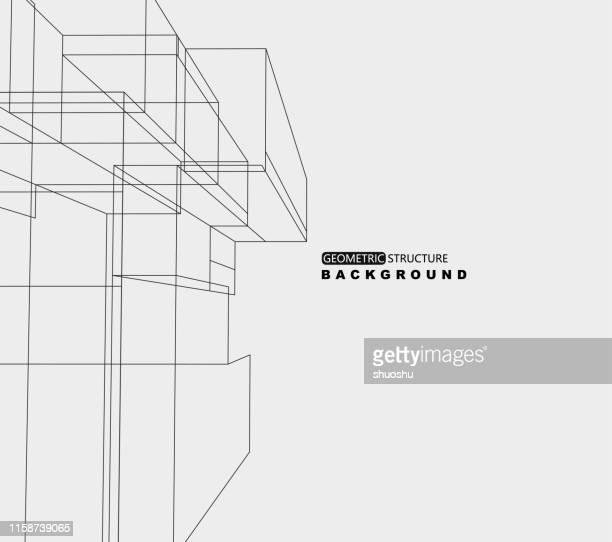 illustrazioni stock, clip art, cartoni animati e icone di tendenza di geometric line structure ornate background - soggettiva