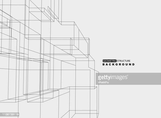 geometric line structure ornate background - architecture stock illustrations