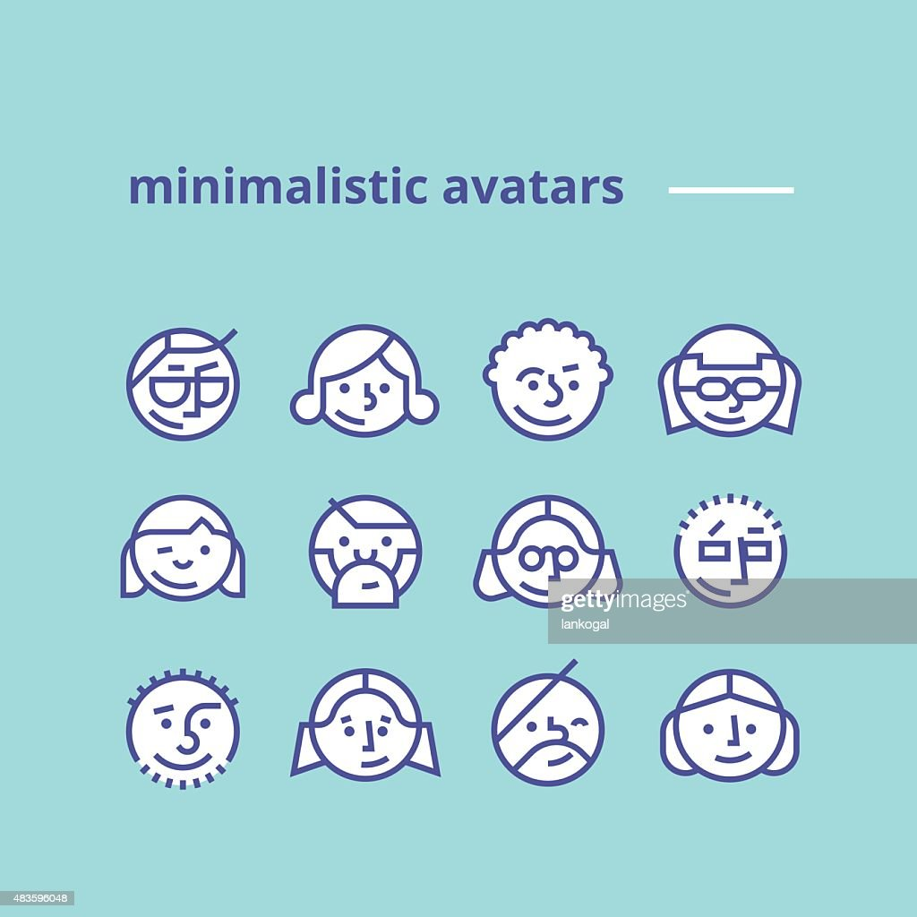 Geometric minimalist avatars icons for web site, social network