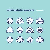 Geometric minimalist avatars icons for web site, social network