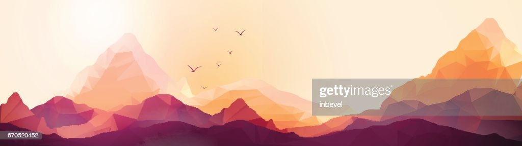 Geometric Mountain and Sunset Background Panorama - Vector Illustration