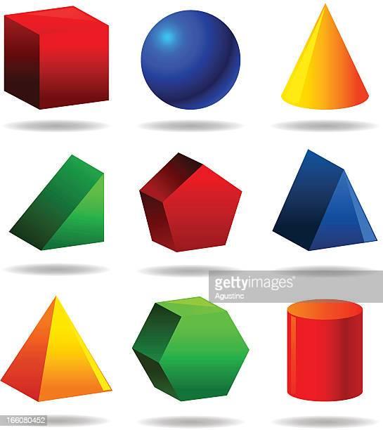 illustrazioni stock, clip art, cartoni animati e icone di tendenza di set objetcs geometrica - solidità
