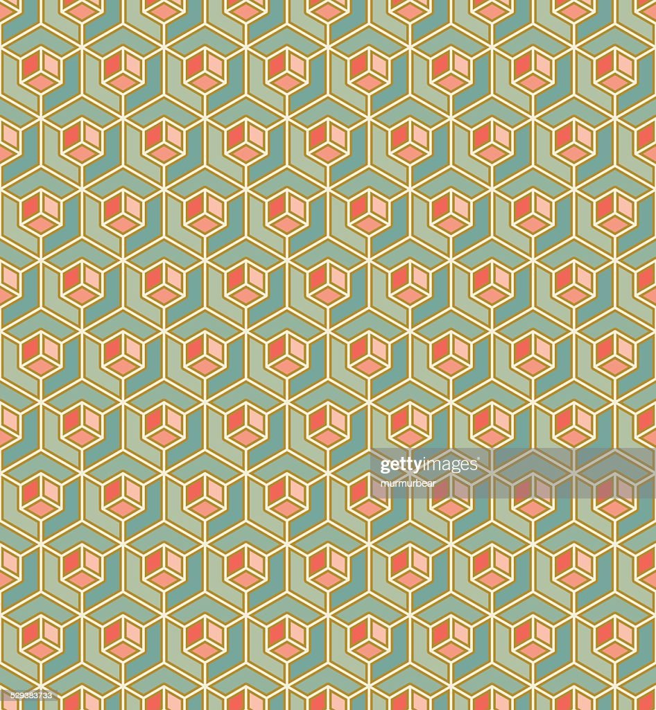 geometric pattern of cubes in art deco style