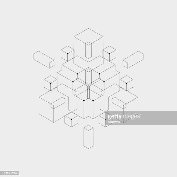 geometric pattern - three dimensional stock illustrations