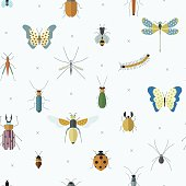 Geometric pattern with bugs and insects.