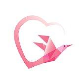 Geometric pink bird with heart ribbon.