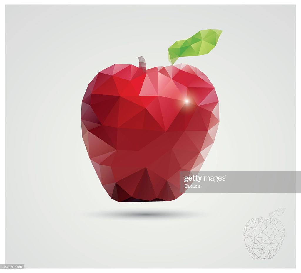 Geometric polygonal fruit, triangles, apple