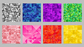 Geometric polygonal gradient mosaic triangle background design set