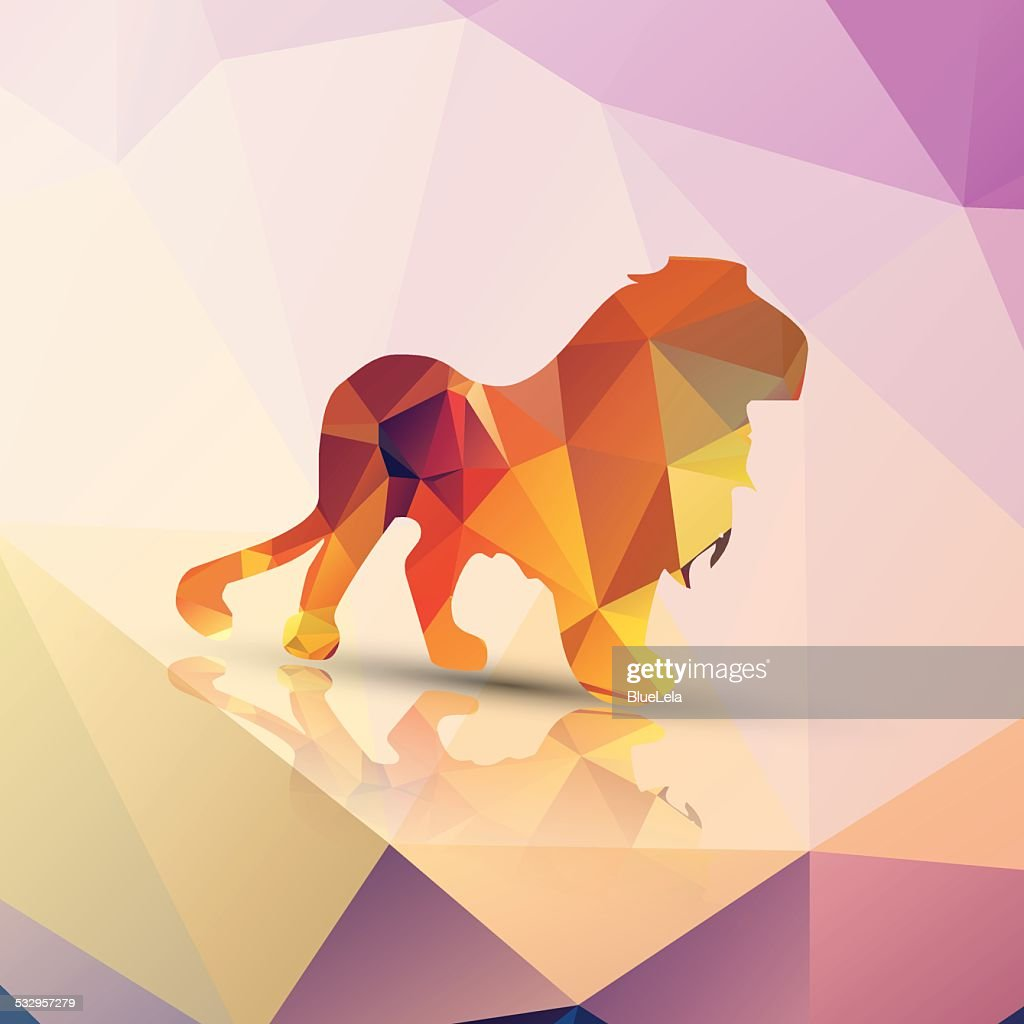 Geometric polygonal lion, pattern design, vector illustration