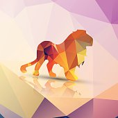 Geometric polygonal lion, pattern design, vector illustration