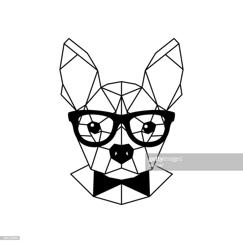 Geometric portrait of a French bulldog wearing glasses and a bow tie. Vector illustration.