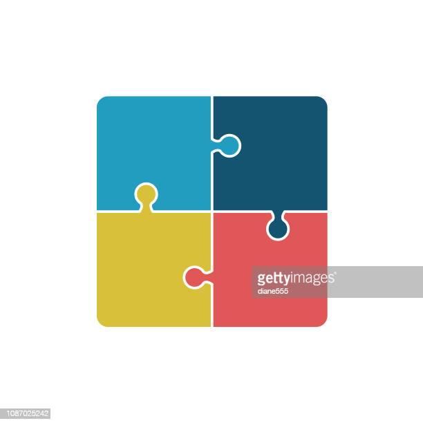 幾何学的なパズルのピース レトロな色のインフォ グラフィック ベース - 電動糸のこ点のイラスト素材/クリップアート素材/マンガ素材/アイコン素材