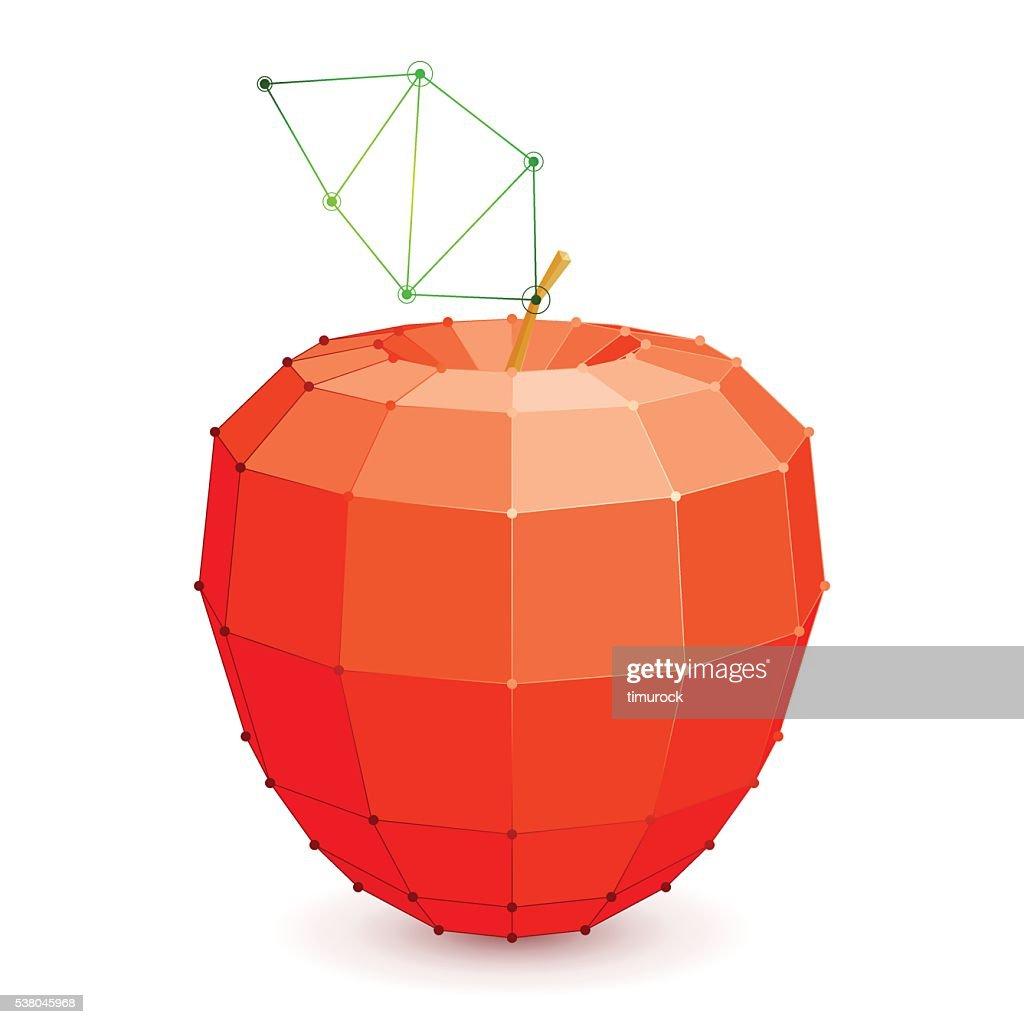 Geometric Red Apple