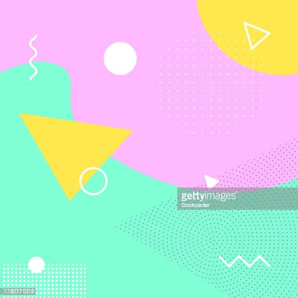 幾何学的レトロ抽象背景 - メンフィス点のイラスト素材/クリップアート素材/マンガ素材/アイコン素材