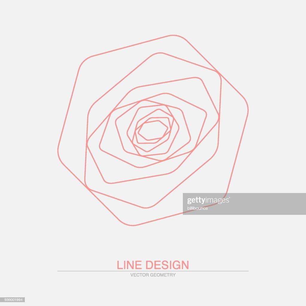 Geometric rose. Abstract line art