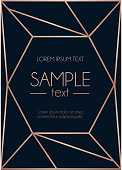 Geometric rose gold design template. Modern design for wedding invitation, greeting card, anniversary. Navy blue background with geometric rose gold abstract shape. Vector illustration