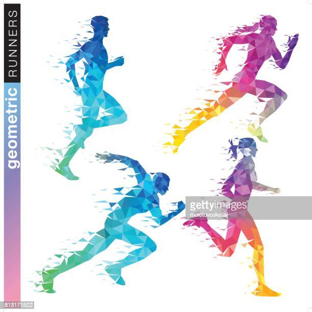 geometric runner set in rainbow colors - sport stock illustrations