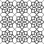 Geometric seamless pattern, Arabic ornament style, tiled design in black