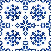 Geometric seamless pattern Azulejos tiles, Portuguese blue tile design, seamless abstract background
