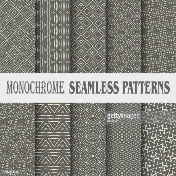 geometric seamless pattern collection - zigzag stock illustrations, clip art, cartoons, & icons