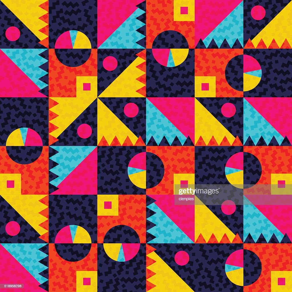 Geometric seamless pattern with colorful shapes
