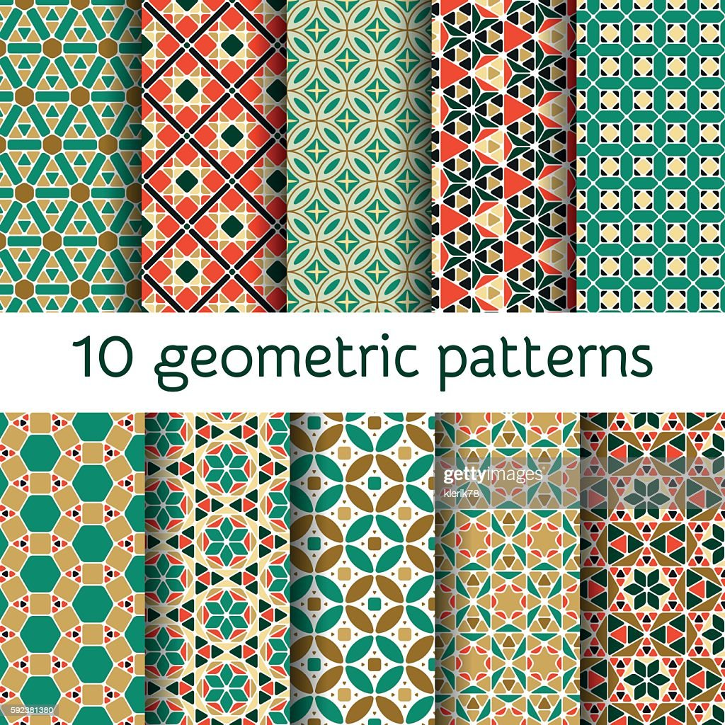 Geometric seamless patterns set. Vector illustration.