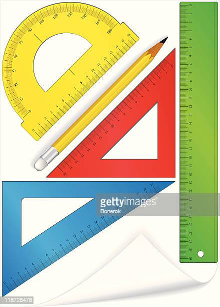 geometric set - protractor stock illustrations, clip art, cartoons, & icons