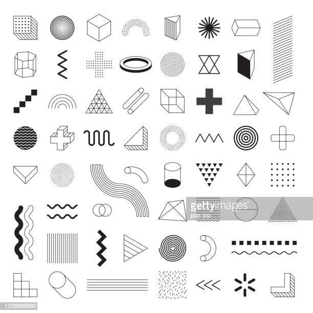 ilustraciones, imágenes clip art, dibujos animados e iconos de stock de formas geométricas set vector - - los cuatro elementos
