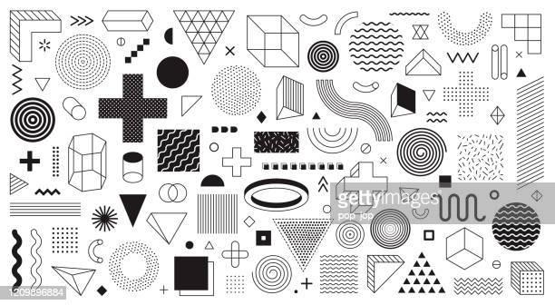 illustrazioni stock, clip art, cartoni animati e icone di tendenza di vettore set forme geometriche - - elemento del design