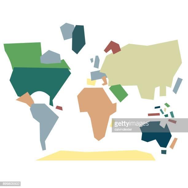 幾何学的図形の世界地図 - フラットデザイン 街点のイラスト素材/クリップアート素材/マンガ素材/アイコン素材