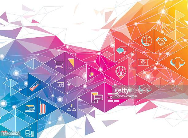 geometric social media design - concepts & topics stock illustrations, clip art, cartoons, & icons