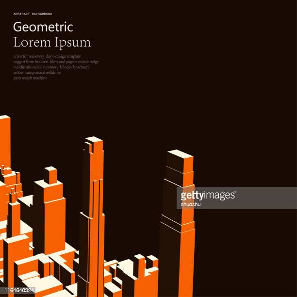 geometric style color modern building model object for design - model to scale stock illustrations, clip art, cartoons, & icons