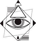 Geometric tattoo design, hipster trendy