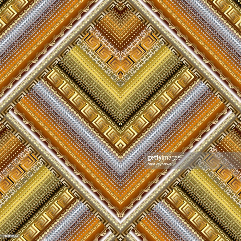 Geometric textured 3d greek seamless pattern