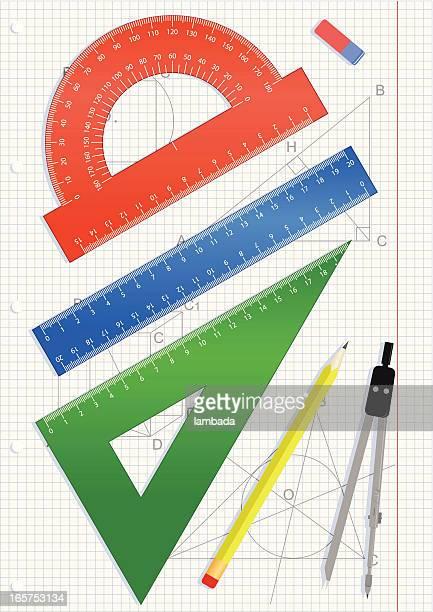 geometric tools set - protractor stock illustrations, clip art, cartoons, & icons