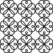 Geometric vector seamless pattern, abstract ornament style, tiled design in black and white