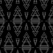 Geometric vector triangles seamless pattern. Art deco black and white ornament. Pattern for textile, fabric, wrapping paper and your design.