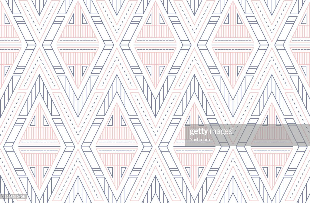 Geometric vector triangles seamless pattern. Scandinavian ornament in nordic colors - white, blue and pink. Pattern for textile, fabric, wrapping paper and your design.