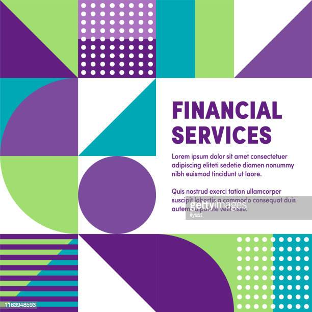 illustrazioni stock, clip art, cartoni animati e icone di tendenza di geometric & vibrant financial services vector cover design - prima pagina di rivista